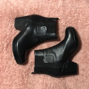 Black Chelsea Booties with a small heel